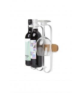 Vino Botellero, Madera de Haya, Color Blanco y Natural, 26.6 x 8.5 x 29.8 cm,