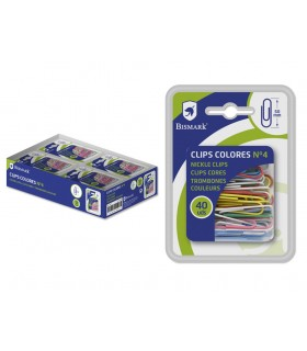 BLISTER 40 CLIPS COLORES 50MM