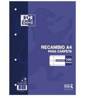 RECAMBIO OXFORD PAUTA 3,5 100 HOJAS 90 GR