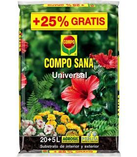 Compo Sana, Sustrato Universal para Plantas de Interior y Exterior, 20+5 L