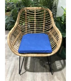 Asiento Cojín de Silla, Loneta con ribete 40x40cm, Relleno de espuma, Azul