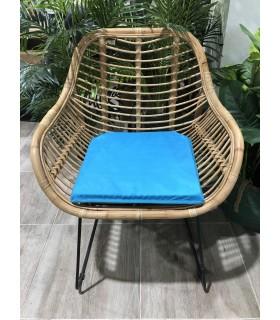 Asiento Cojín de Silla, Loneta con ribete 40x40cm, Relleno de espuma, Azul claro