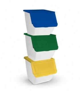 Pack 3 Cubos Basura de Cocina Apliables 36L (Blanco)