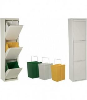 Cubos basura 18 L (Blanco, 3 Compartimentos)