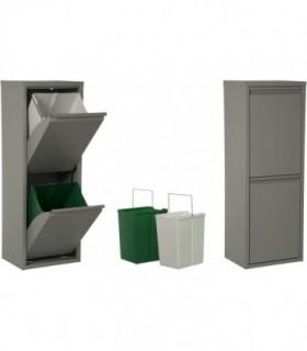 Cubos basura 18 L (Gris, 2 Compartimentos)