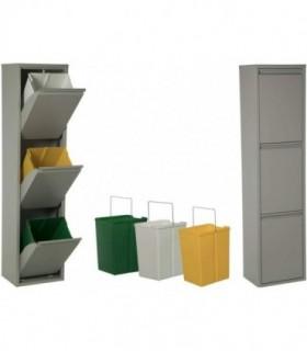 Cubos basura 18 L (Gris, 3 Compartimentos)