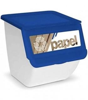 Cubos de Basura de Reciclaje 36L (Azul Papel)