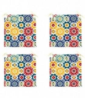 Pack de 4 Cojines para Sillas (Mosaico Multi)