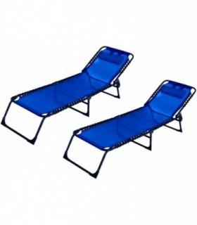 Pack 2 Tumbonas Plegables para Jardín (Azul)