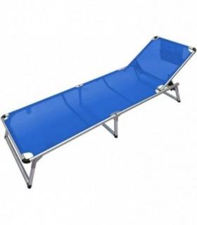Tumbona Plegable de Aluminio (Liso Azul)