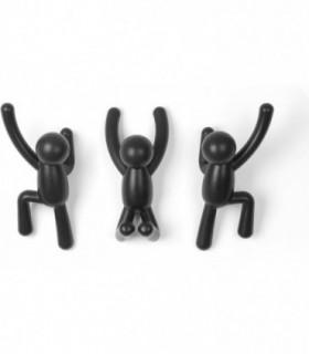 Set of 3 Percheros de Pared Buddy Negro