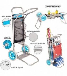 Carro portasillas Plegable Azul de Aluminio
