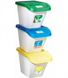 Pack de 3 Cubos de Reciclaje 30L 34x35x46 cm