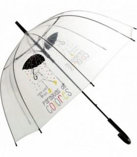 Paraguas Transparente Diseño Lluvia de Colores