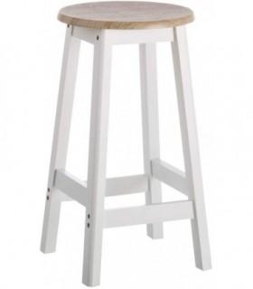 Taburete de cocina blanco de madera