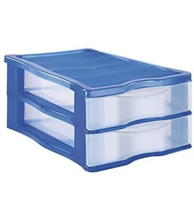 Cajonera Plastico Apilable(Azul 2 Cajones)
