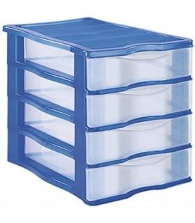 Cajonera Plastico Apilable(Azul 4 Cajones )