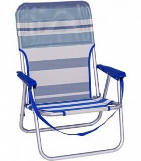 Sillas de Playa Plegables (Azul Rayas 54X40X71 CM - Fija)