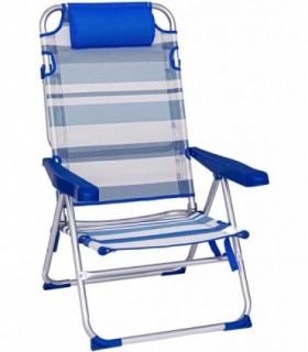 Sillas de Playa Plegables (Azul Rayas 61X56X100 CM - 4 Posiciones c-cojín)