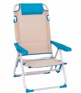Sillas de Playa Plegables (Bicolor Azul 61X56X100 CM - 4 Posiciones c-cojín)