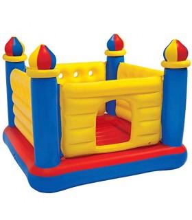 Intex 48259NP - Castillo hinchable INTEX, 175x175x135 cm, suelo hinchable, Para 2 niños, Peso máximo 45 Kg, Color rojo, amarillo