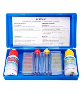 TIENDA EURASIA® Test Básico para Piscinas - Medidor de Cloro y Ph para Piscinas - Pack 6 Piezas + Estuche