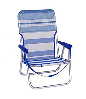 TIENDA EURASIA® Sillas de Playa Plegables - Multi Posiciones - Material Aluminio y Textileno - Disponible en Varios Tamaños y Co