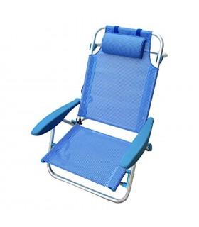 TIENDA EURASIA® Silla Plegable de Playa con Cojín - Silla Reforzada con 4 Posiciones - Estructura de Aluminio y Tela de Textilen