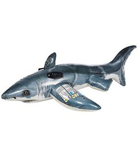 Intex 57525NP - Tiburón hinchable fotorrealista con 2 asas, 173 x 107 cm