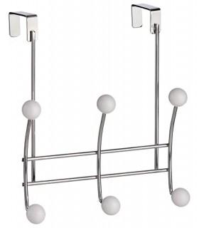 TIENDA EURASIA® Colgador de Puerta con Ganchos - Acabado en Acero Reforzado y Bolas en Blanco Brillo - Diseño Universal adaptabl