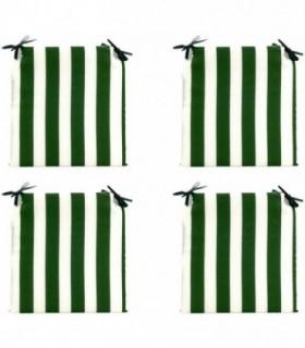 Pack 4 Cojines para Sillas - Estampados Lisos con 2 Cintas de Sujeción