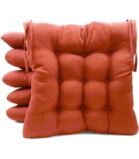 Pack 6 Cojines para Sillas de Terraza - Relleno de Fibra Hueca Siliconada Acolchada - 40 x 40 x 5 cm (Terracota)