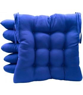 Pack 6 Cojines para Sillas de Terraza - Relleno de Fibra Hueca Siliconada Acolchada - 40 x 40 x 5 cm (Azul)