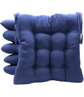 Pack 6 Cojines para Sillas de Terraza - Relleno de Fibra Hueca Siliconada Acolchada - 40 x 40 x 5 cm (Azul Marino)