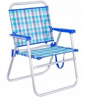 Silla de Playa Plegable Fija Azul de Aluminio y textileno de 78x50x57 cm