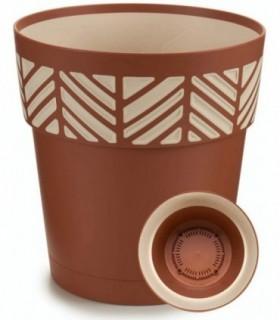 Maceta de Plástico - Diseño Geométrico Rayas (Marrón, 25 cm)
