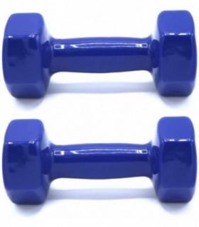 Pack 2 Mancuernas Recubrimiento de Vinilo (Azul, 4Kg)