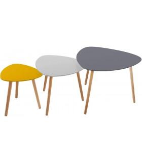 Pack 3 Mesitas Auxiliares de Diseño Nordico en 3 Colores - Tablero de Madera MDF y Patas de Madera de Roble