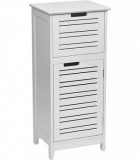 Mueble con Puerta Miami MDF 1 cajón en la Parte Superior Madera White 36.5x30x83 cm