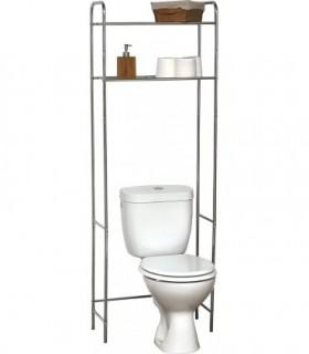 Estanteria Metalica de 2 Baldas Universal Adaptable a Todos los WC (Cromado)