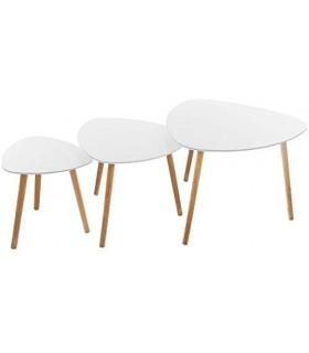 Pack 3 Mesitas Auxiliares de Diseño Nordico (Blanco)