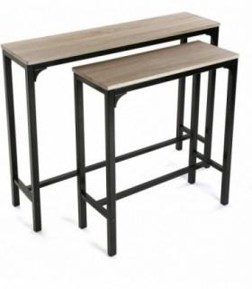 Mueble Recibidor Estrecho Set de 2 Medidas (Al x L x An) 80 x 25 x 95 cm Madera y Metal Color Negro