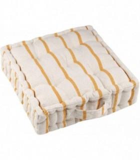 Cojines de Suelo 100% Algodón Lisa Uso Interior y Exterior (Natural / Mostaza)