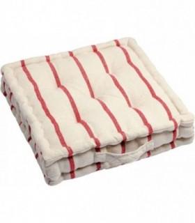 Cojines de Suelo 100% Algodón Lisa Uso Interior y Exterior (Natural / Rojo)