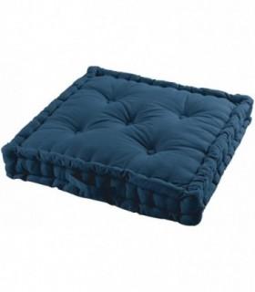 Cojines de Suelo 100% Algodón Lisa Uso Interior y Exterior (Azul Marino)