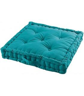 Cojines de Suelo 100% Algodón Lisa Uso Interior y Exterior (Azul)