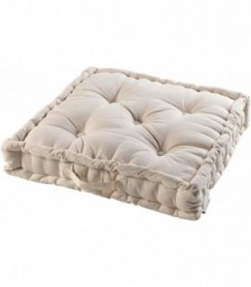Cojines de Suelo 100% Algodón Lisa Uso Interior y Exterior (Natural)