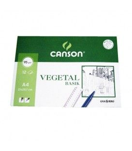 CANSON PAPEL VEGETAL 12 HOJAS 21X29,7 95 G