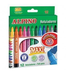 ROTULADORES ALPINO 12 MAXI COLORES