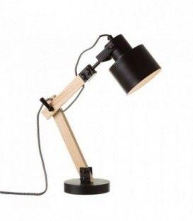 Lámpara flexo de madera negra
